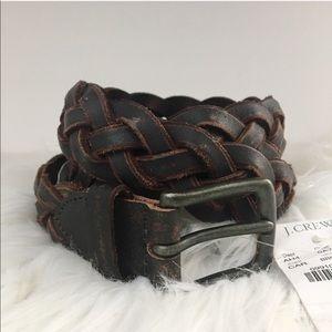 J. Crew leather braided brown belt